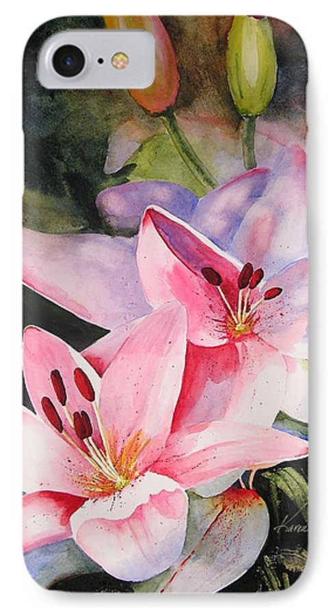 Lilies IPhone 7 Case featuring the painting Shady Ladies by Karen Stark