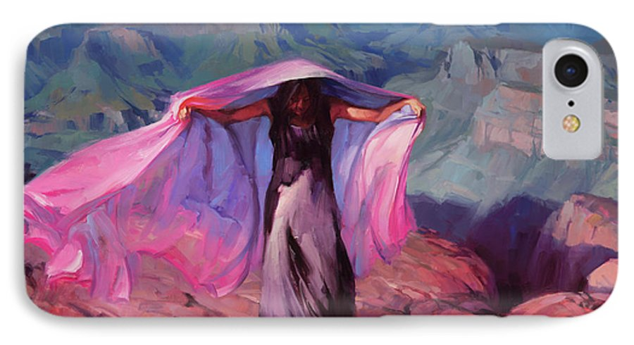Dancer IPhone 7 Case featuring the painting She Danced By The Light Of The Moon by Steve Henderson