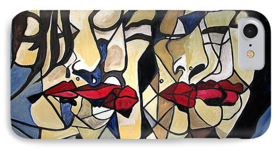 Abstract IPhone 7 Case featuring the painting She Had Red Lips by Patricia Arroyo