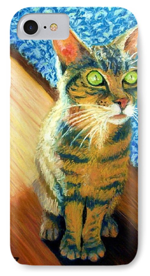 Cat IPhone 7 Case featuring the painting She Wants To Be Famous by Minaz Jantz