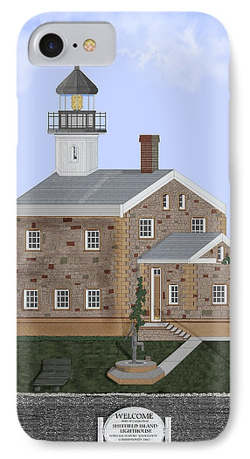 Lighthouse IPhone 7 Case featuring the painting Sheffield Island Lighthouse Connecticut by Anne Norskog