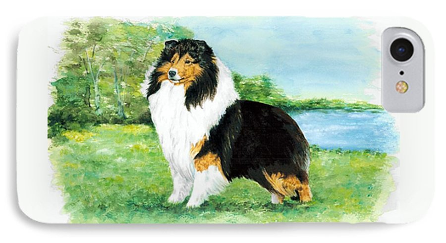 Shetland Sheepdog IPhone 7 Case featuring the painting Sheltie Wait by Kathleen Sepulveda