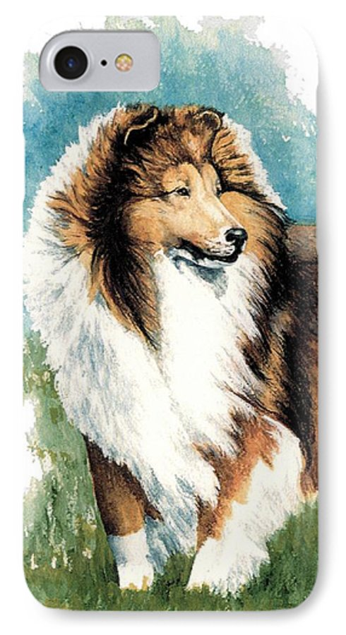 Shetland Sheepdog IPhone 7 Case featuring the painting Sheltie Watch by Kathleen Sepulveda