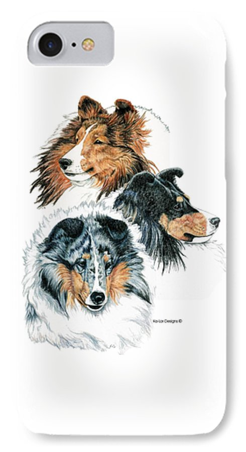 Shetland Sheepdog IPhone 7 Case featuring the drawing Shetland Sheepdogs by Kathleen Sepulveda
