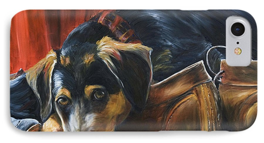 Dog IPhone 7 Case featuring the painting Shoe Dog by Nik Helbig