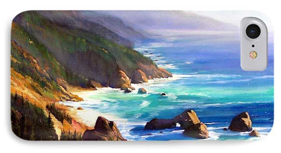 Seascape IPhone 7 Case featuring the painting Shore Trail by Frank Wilson