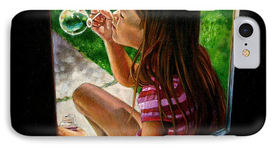 Girl IPhone 7 Case featuring the painting Sierra Blowing Bubbles by John Lautermilch