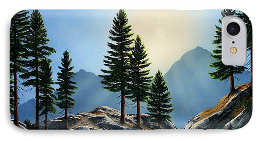 Landscape IPhone 7 Case featuring the painting Sierra Sentinals by Frank Wilson