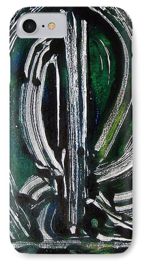 Abstract IPhone 7 Case featuring the painting Signe by Muriel Dolemieux