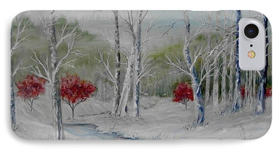 Snow; Winter; Birch Trees IPhone 7 Case featuring the painting Silence by Ben Kiger