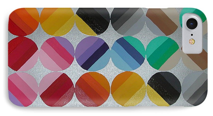 Circles Of Yellow IPhone 7 Case featuring the painting Silver Lining by Gay Dallek