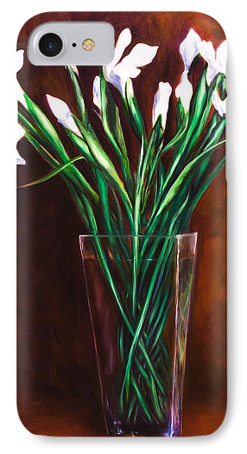Iris IPhone 7 Case featuring the painting Simply Iris by Shannon Grissom