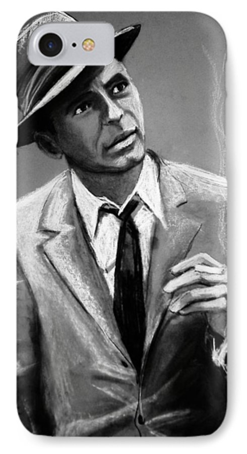 Frank Sinatra IPhone 7 Case featuring the drawing Sinatra by Laura Rispoli