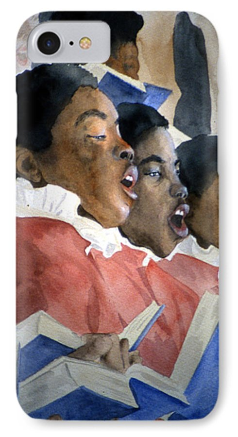 Choir IPhone 7 Case featuring the painting Sing Out Your Joy by Jean Blackmer