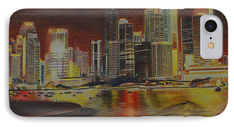 Cityscape IPhone 7 Case featuring the painting Singapore Nights by Nik Helbig