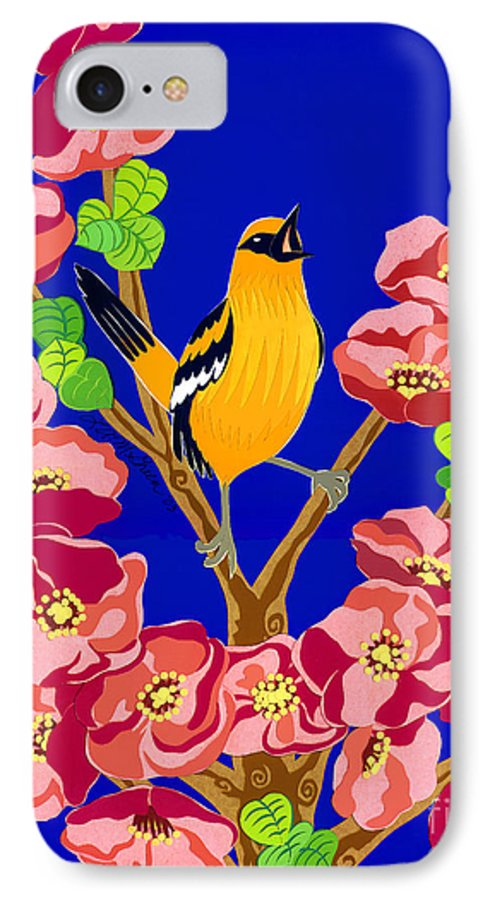 Nature IPhone 7 Case featuring the drawing Singing Oriole by Lucyna A M Green