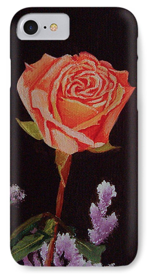 Rose IPhone 7 Case featuring the painting Single Rose by Quwatha Valentine