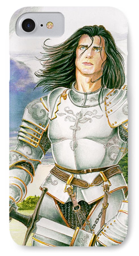 Swords IPhone 7 Case featuring the painting Sir Lancelot by Melissa A Benson