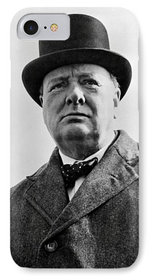 Wwii IPhone 7 Case featuring the photograph Sir Winston Churchill by War Is Hell Store
