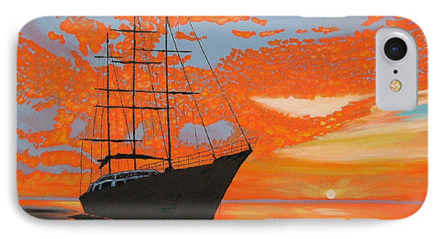 Seascape IPhone 7 Case featuring the painting Sittin' On The Bay by Marco Morales