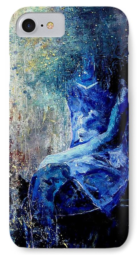 Woman Girl Fashion IPhone 7 Case featuring the painting Sitting Young Girl by Pol Ledent