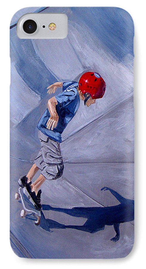 Boy IPhone 7 Case featuring the painting Skateboarding by Quwatha Valentine