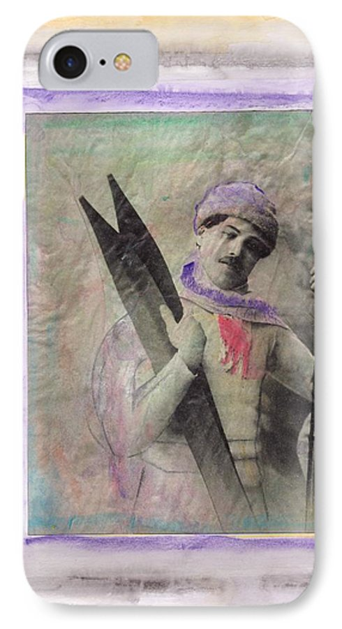 Ski IPhone 7 Case featuring the mixed media Skiboarder Around 1930 by Michael Puya