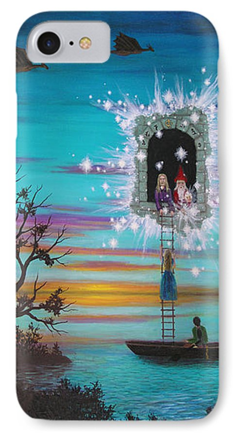 Fantasy IPhone 7 Case featuring the painting Sky Window by Roz Eve