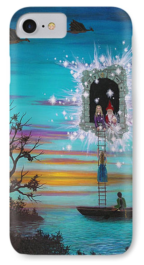 Fantasy IPhone Case featuring the painting Sky Window by Roz Eve