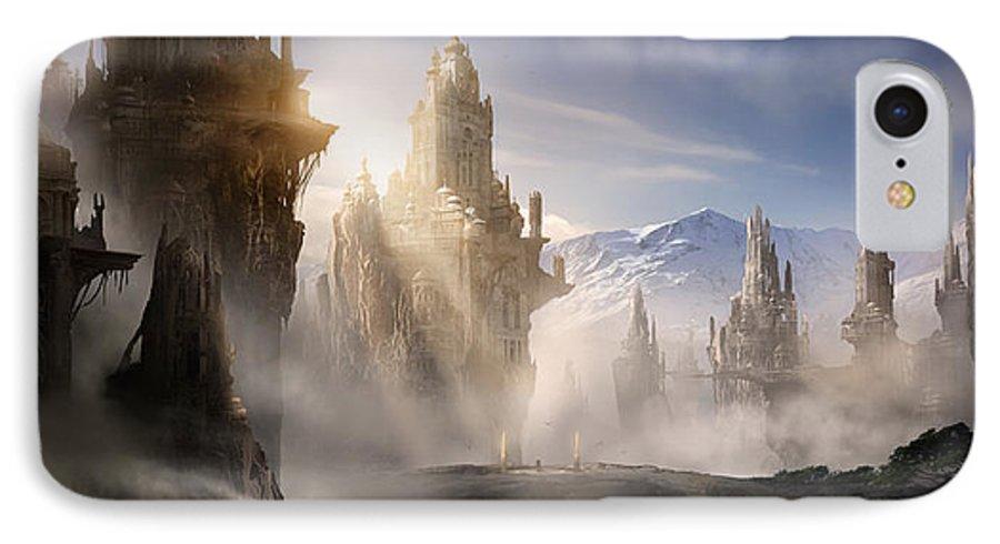 Game Art IPhone 7 Case featuring the digital art Skyrim Fantasy Ruins by Alex Ruiz