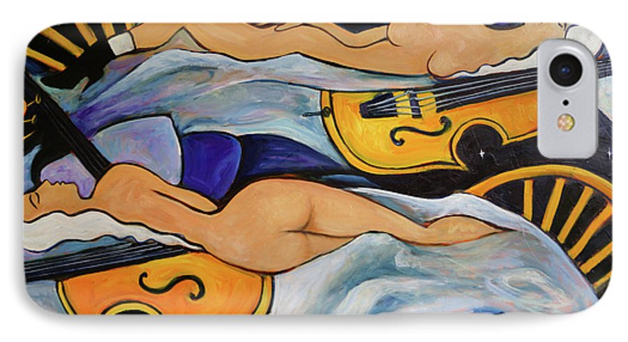 Musicians IPhone 7 Case featuring the painting Sleeping Cellists by Valerie Vescovi