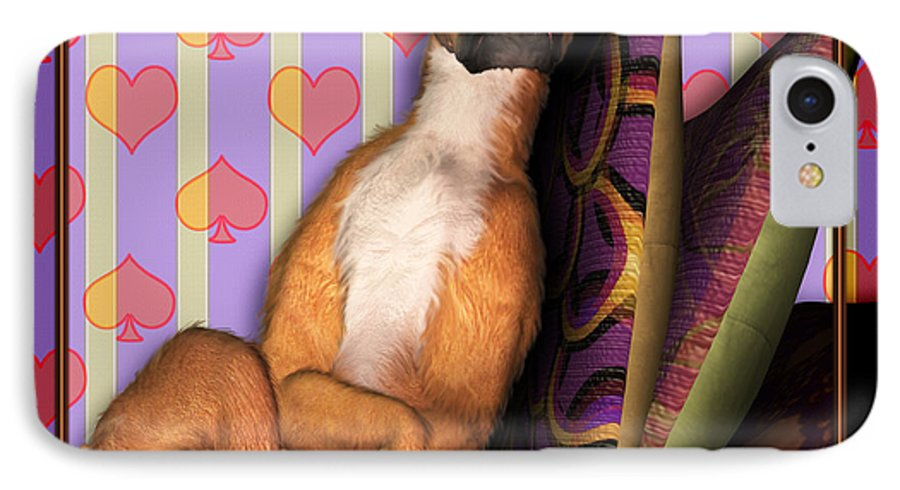 Dog IPhone 7 Case featuring the digital art Sleeping II by Nik Helbig