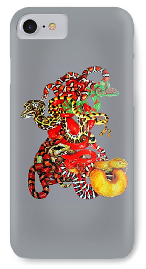 Reptile IPhone 7 Case featuring the drawing Slither by Barbara Keith