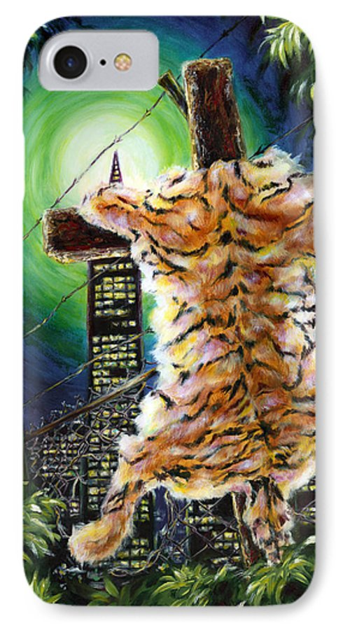 Tiger IPhone 7 Case featuring the painting Slough... What I Have Left Behind The Fence To Survive In This Strange City by Hiroko Sakai