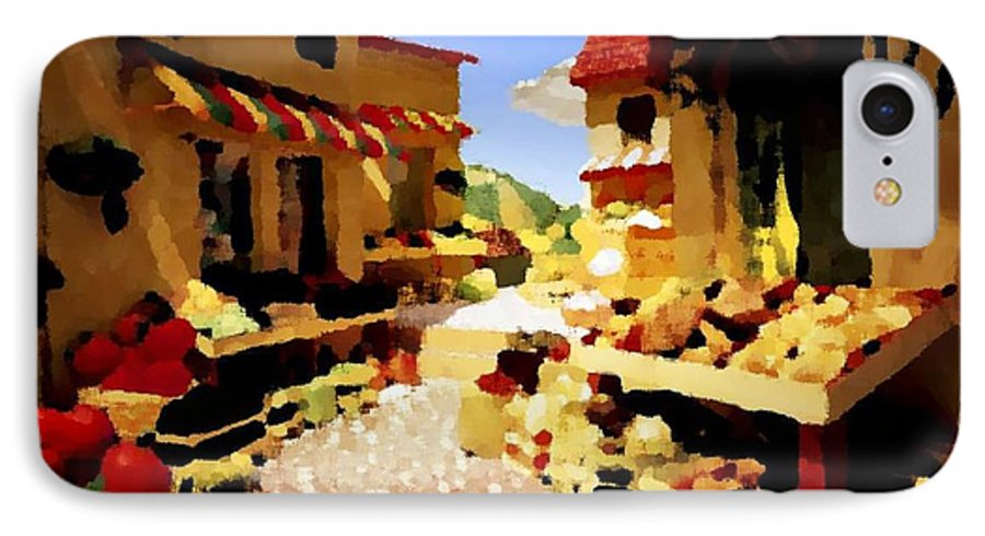 Market.town.street.road.houses.shadow.things For Sale.heat.rest.silence. IPhone 7 Case featuring the digital art small urban market on Capri island by Dr Loifer Vladimir