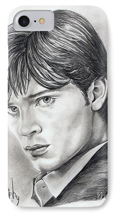 Superman IPhone 7 Case featuring the drawing Smallville Tom Welling by Murphy Elliott