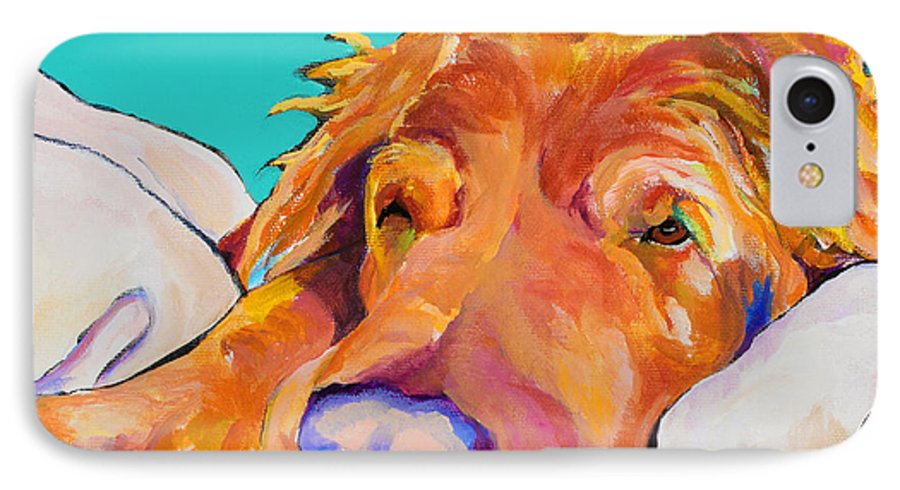 Dog Poortraits IPhone 7 Case featuring the painting Snoozer King by Pat Saunders-White