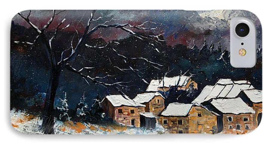 Snow IPhone 7 Case featuring the painting Snow 57 by Pol Ledent