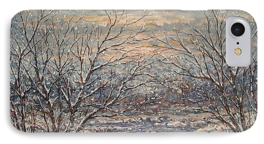 Landscape IPhone 7 Case featuring the painting Snow By Brook. by Leonard Holland