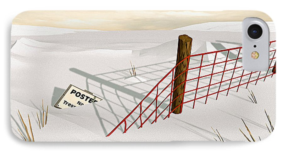 Snow IPhone 7 Case featuring the painting Snow Fence by Peter J Sucy