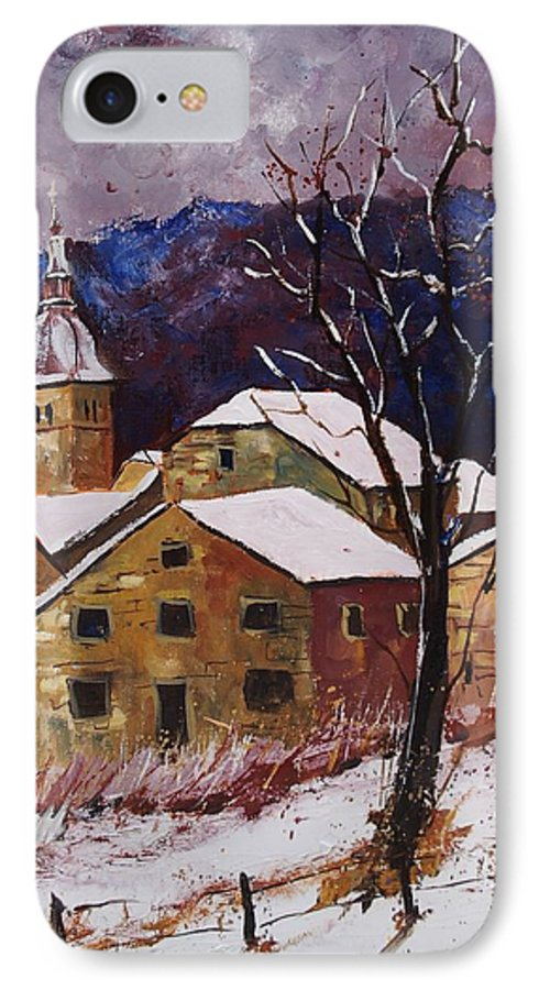 Landscape IPhone 7 Case featuring the painting Snow In Chassepierre by Pol Ledent