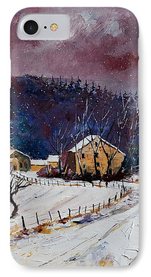 Landscape IPhone 7 Case featuring the painting Snow In Sechery by Pol Ledent