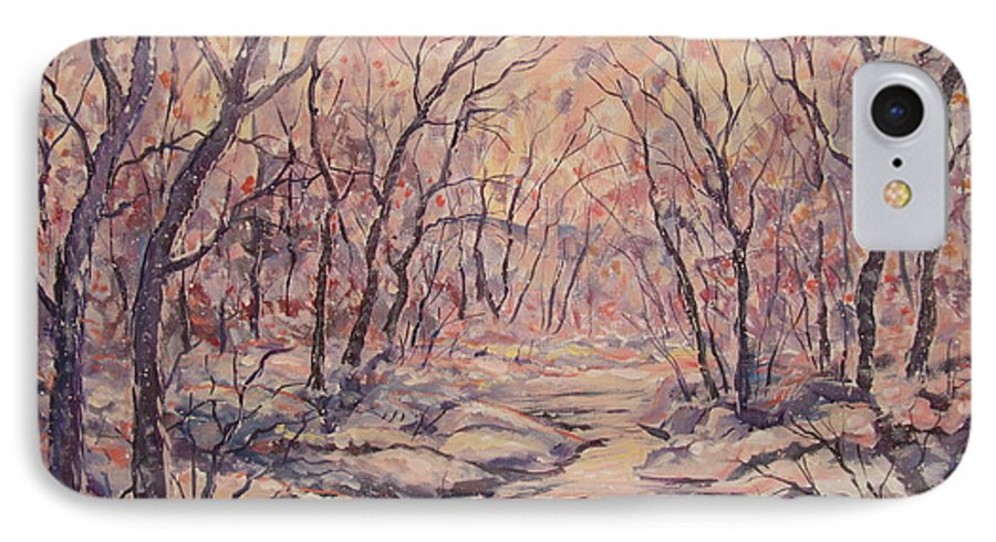 Landscape IPhone 7 Case featuring the painting Snow In The Woods. by Leonard Holland