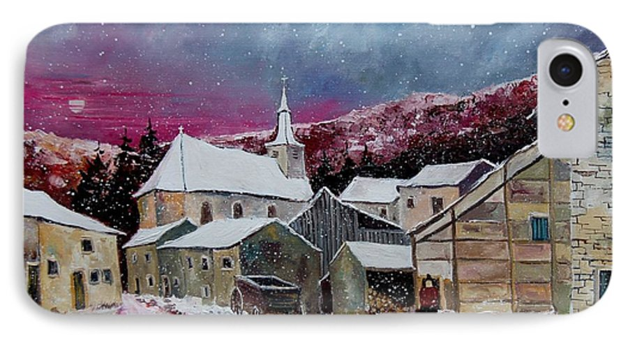 Snow IPhone 7 Case featuring the painting Snow Is Falling by Pol Ledent