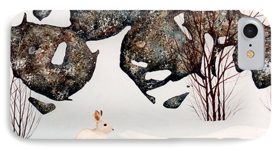 Wildlife IPhone 7 Case featuring the painting Snow Ledges Rabbit by Frank Wilson