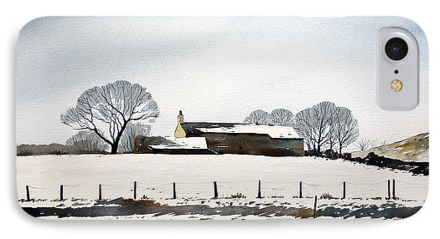 Winter Scene IPhone 7 Case featuring the painting Snow Scene Barkisland by Paul Dene Marlor