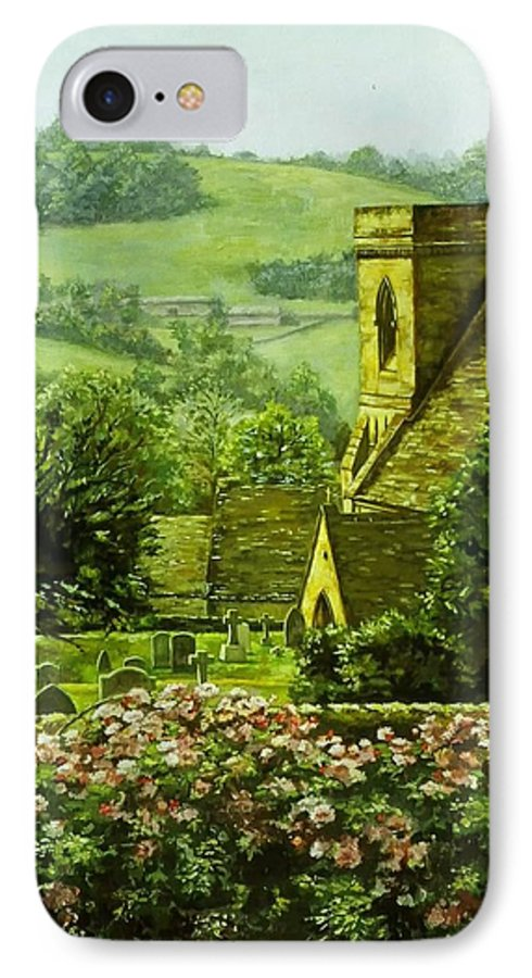 Landscape Church IPhone 7 Case featuring the painting Snowshill by Ruth Stromswold