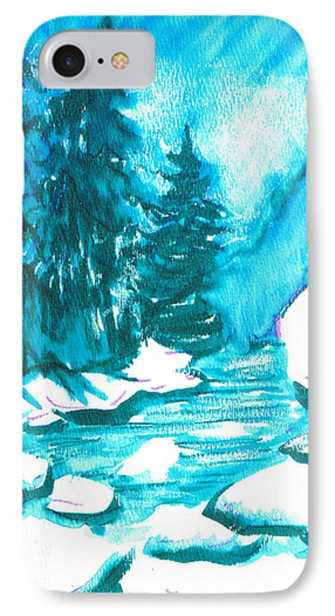 Chilling IPhone 7 Case featuring the mixed media Snowy Creek Banks by Seth Weaver