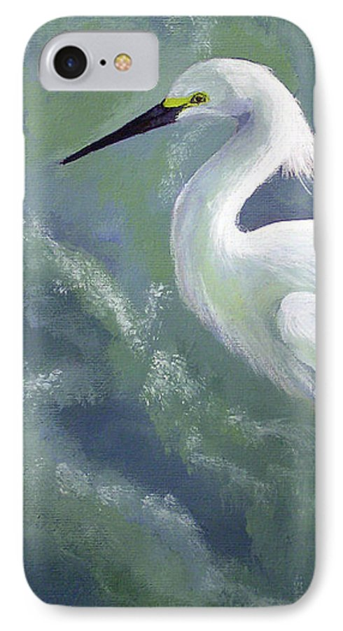 Egret IPhone 7 Case featuring the painting Snowy Egret In Water by Adam Johnson