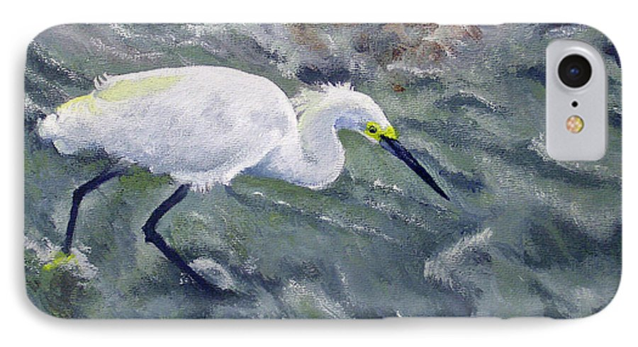 Egret IPhone 7 Case featuring the painting Snowy Egret Near Jetty Rock by Adam Johnson